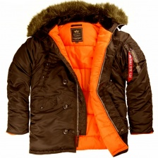 SLIM FIT N-3B PARKA DEEP BROWN/ORANGE искуственный мех