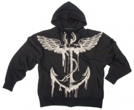 Толстовка Rothco Vintage  Black/Anchor  Hooded Sweatshirt