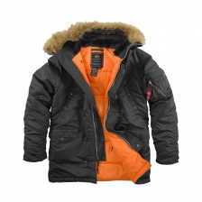 SLIM FIT N-3B PARKA BLACK / ORANGE  натуральный мех